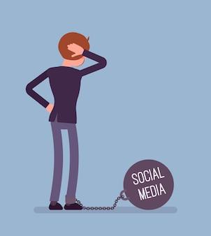 Empresário acorrentado com um peso gigante de metall social media