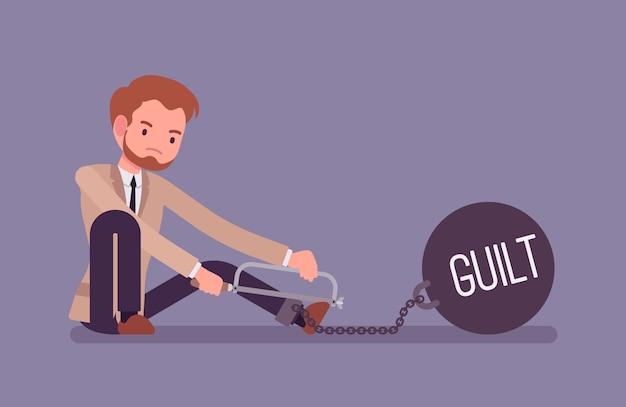 Empresário acorrentado com um peso metálico culpa, serrar
