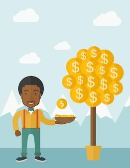 Empresário africano bem sucedido em pé ao pegar uma moeda de dólar da árvore do dinheiro.