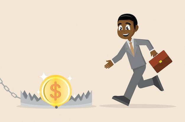 Empresário africano correndo para dinheiro na armadilha de urso.