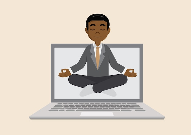 Empresário africano meditando no laptop.