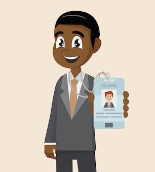 Empresário africano mostra seu cartão de identificação de crachá de marca.