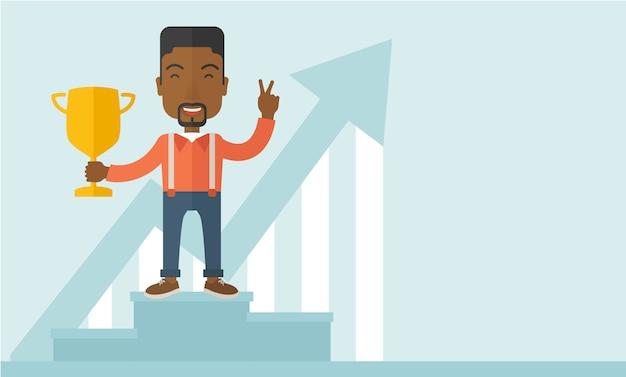 Empresário africano no pódio vencedor