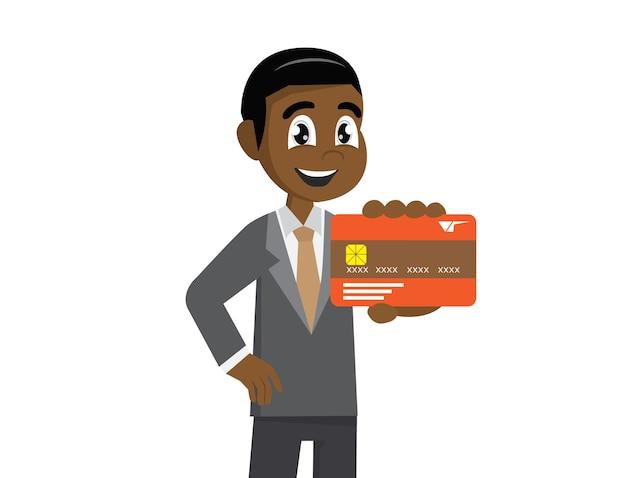 Empresário africano segurando um cartão de crédito.