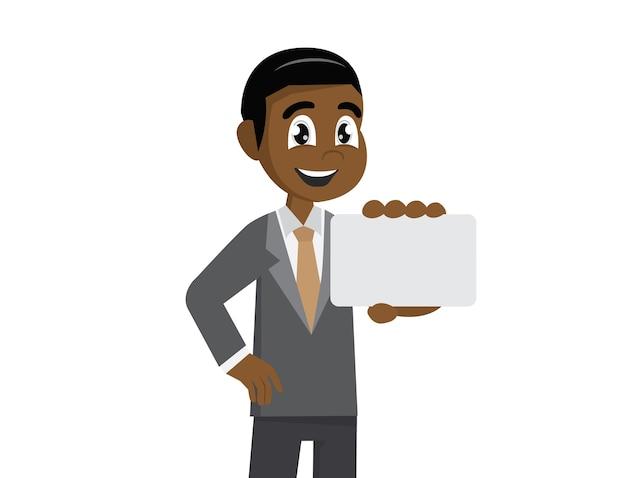 Empresário africano segurando um cartão de visita.