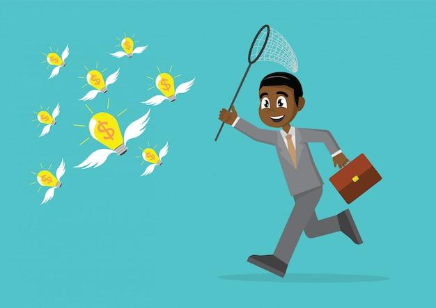 Empresário africano tentando pegar moedas voadoras.