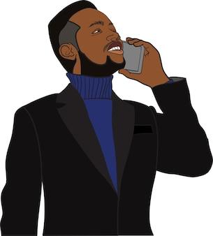 Empresário africano usando uma ilustração vetorial de smartphone