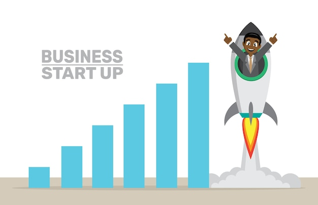 Empresário africano voando no foguete para cima.