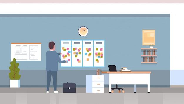 Empresário, agendando sua agenda de trabalho, semanalmente, agenda de reuniões, quadro de tarefas, com notas pegajosas, planejamento de negócios, notícias, eventos, calendário, conceito escritório interior horizontal comprimento total