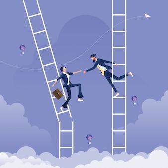 Empresário ajuda outra empresária que está na escada quebrada-ajuda e conceito de apoio