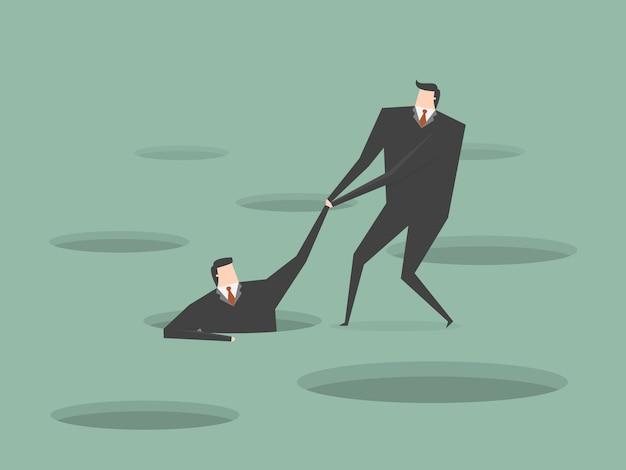 Empresário ajudando outro homem de negócios