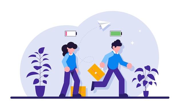 Empresário alegre correndo com o ícone de bateria cheio de energia e o empresário cansado caminhando lentamente com o ícone de bateria de baixa energia.