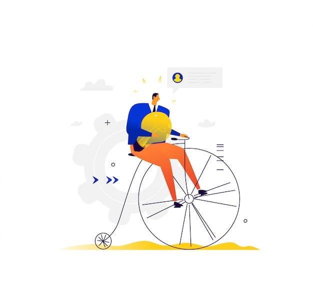 Empresário anda de bicicleta. um homem em uma bicicleta retrô com uma lâmpada elétrica monta nos negócios.