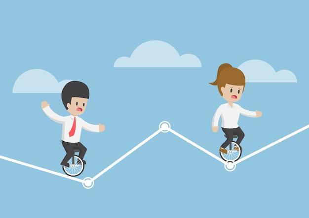 Empresário andando de monociclo e tentando equilibrar em um gráfico, conceito de risco de investimento