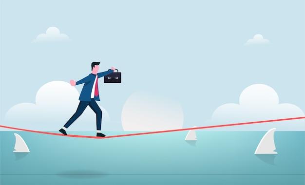 Empresário andando em equilíbrio na corda bamba com ilustração de risco.