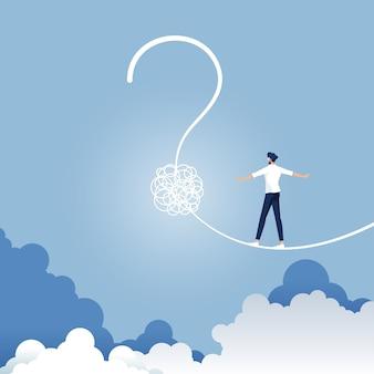 Empresário andando em uma corda bamba em forma de ponto de interrogação. arrisca a incerteza e planeja uma nova jornada