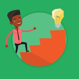 Empresário andando lá em cima para a lâmpada da ideia.