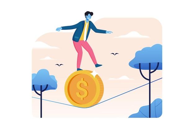 Empresário andando sobre moedas de dólar em vetor de corda