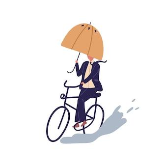Empresário andar de bicicleta sob ilustração plana de vetor de guarda-chuva. homem dos desenhos animados em terno de ciclismo na poça em dia chuvoso de outono, isolado no fundo branco. maneira masculina de andar de bicicleta, superando obstáculos.