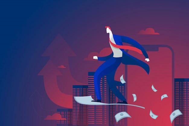 Empresário andar no avião de ar de papel de dinheiro. conceito de lançamento de negócios.