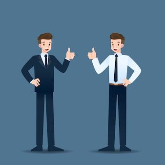 Empresário aparecer polegar para cima.