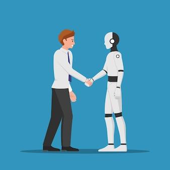 Empresário, apertando a mão de um robô ai. conceito de inteligência artificial.