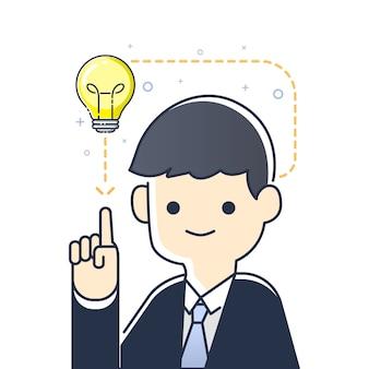 Empresário, apontando para a lâmpada tendo uma boa idéia