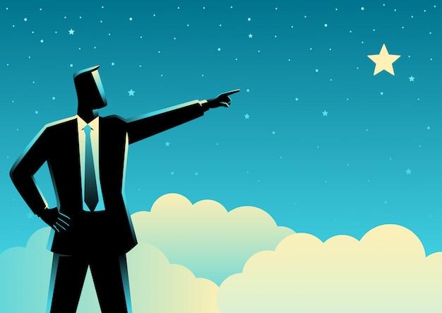 Empresário apontando uma estrela