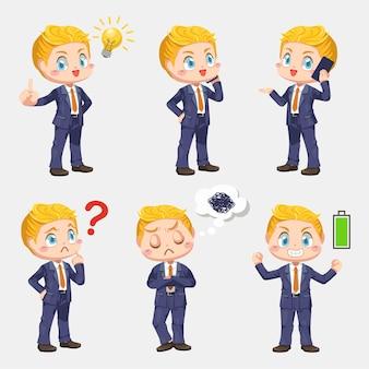 Empresário apresenta projeto na sala de reuniões com gráficos em ilustração plana de personagem de desenho animado em fundo branco