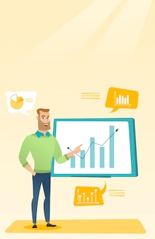 Empresário, apresentando a revisão dos dados financeiros.
