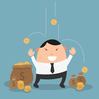 Empresário aproveitando chovendo dinheiro, tornando-se milionário.