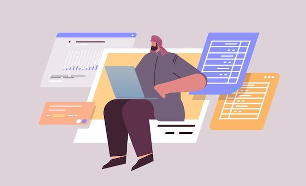 Empresário árabe analisando dados no laptop analista de negócios fazendo relatórios analíticos conceito de processo de trabalho horizontal ilustração vetorial de corpo inteiro