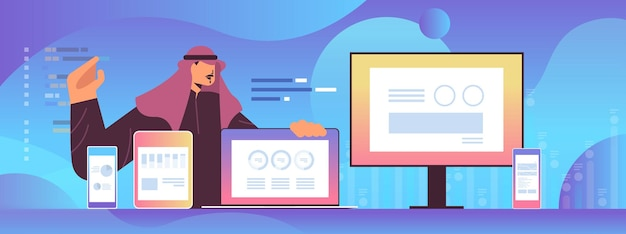 Empresário árabe analisando tabelas de estatísticas financeiras e gráficos em dispositivos digitais análise de dados planejamento empresa estratégia conceito retrato ilustração vetorial horizontal