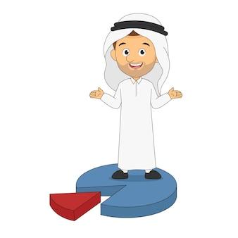 Empresário árabe em pé em um gráfico