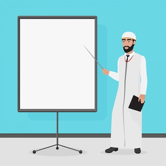 Empresário árabe em uma apresentação. ilustração em vetor dos desenhos animados.