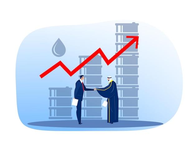 Empresário árabe muçulmano do petróleo combinando com comprador europeu, ilustração vetorial plana de comércio de petróleo