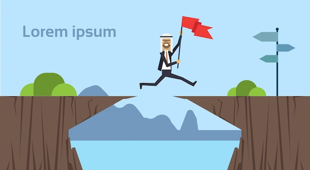 Empresário árabe pulando bandeira obstáculos abismo ir para o objetivo oposto conceito sucesso nos negócios desafio risco fundo