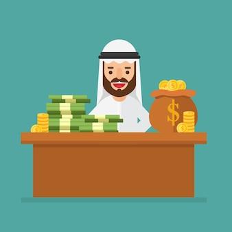 Empresário árabe sentado em uma cadeira