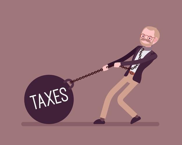 Empresário arrastando um peso impostos na cadeia