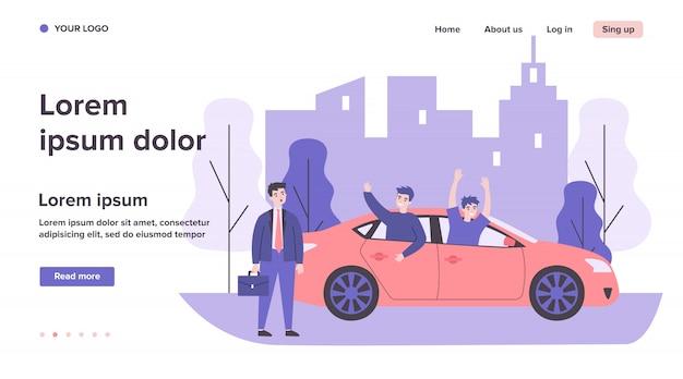 Empresário, assistindo caras alegres, andar de carro