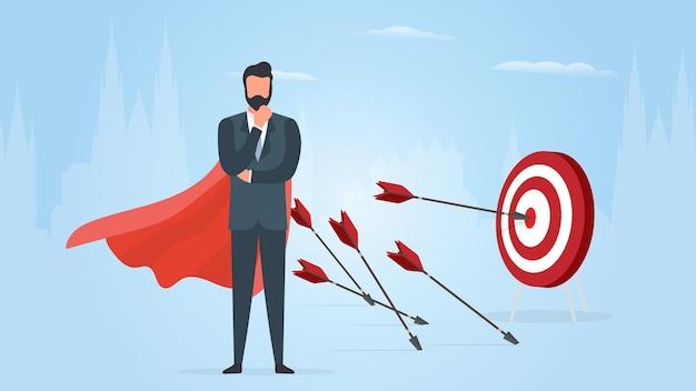 Empresário atinge o alvo. acerte o centro do alvo com uma flecha. empresário com uma capa vermelha. o conceito de motivação e conquistas nos negócios. vetor.