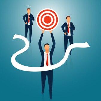 Empresário atingir seu objetivo, em pé na primeira posição.