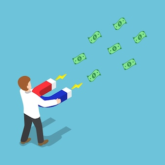 Empresário atrai dinheiro com um grande íman em forma de ferradura