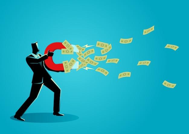 Empresário atrai dinheiro usando um grande íman