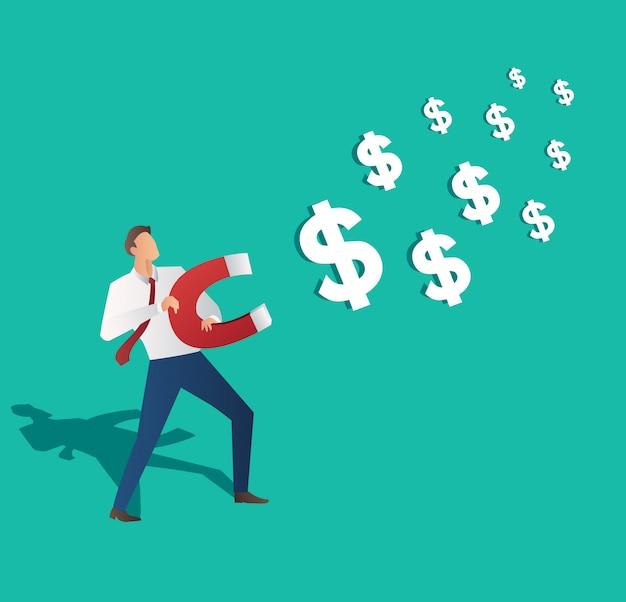Empresário, atraindo o ícone do dólar