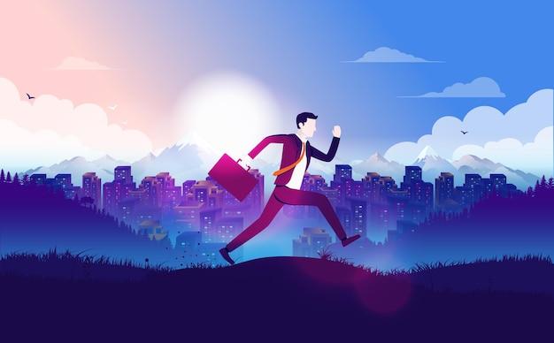 Empresário atrasado para o trabalho correndo em frente ao horizonte da cidade