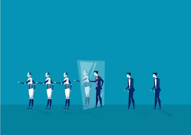 Empresário atravessar o espelho tornar-se robô digital gerar conceito vector