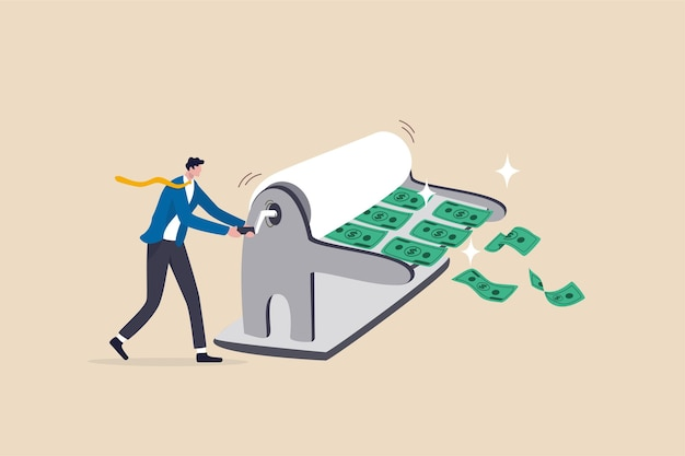 Empresário banco central man rolando impressora de dinheiro para imprimir notas de dinheiro