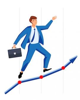 Empresário bem sucedido gerente sobe gráfico. homem de carreira perfeita