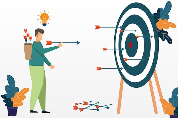 Empresário bem sucedido, visando o alvo com arco e flecha. conceito de sucesso do negócio. alvo e oportunidades.